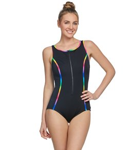 9cf1b4f2c6666 Reebok Women's Sunglow Zip Front High Neck Chlorine Resistant One Piece  Swimsuit
