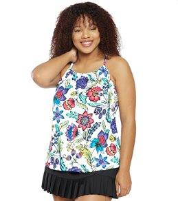 e18a2754d54 24th & Ocean Plus Size Flora Botanica High Neck Underwire Tankini Top