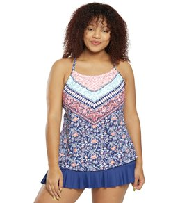 be706144126 24th & Ocean Plus Size La Boheme High Neck Underwire Tankini Top