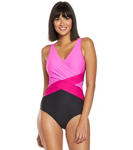 4e70d42ea8d Sporti Marina Criss Cross Tummy Control One Piece Swimsuit