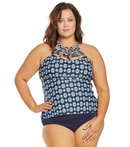 105bc91b2c7e5 Raisins Plus Size Indo Boa High Neck Tankini Top