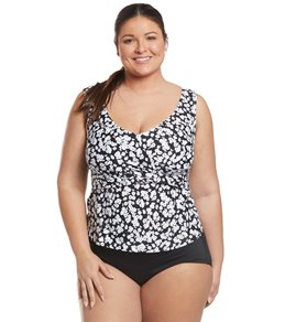d404466726247 Anne Cole Plus Size Itsy Bitsy Ditsy Off The Shoulder Tankini Top