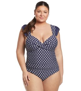 cc3bff6cc45cd Anne Cole Plus Size Eyelet It Go Underwire Twist Front Shirred One Piece  Swimsuit