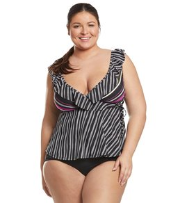 d321fb342f7 Anne Cole Plus Size Sketchbook Stripe Surplice Tankini Top