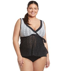 b989a699130a7 Anne Cole Plus Size In First Lace Dot Surplice Tankini Top