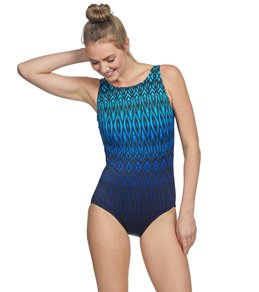 372a3d49f9a Longitude Tahoe Ombre High Neck Long Torso One Piece Swimsuit