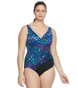be7b1a77c4 Longitude Plus Size Sunshower Mesh Ruffle Surplice One Piece Swimsuit
