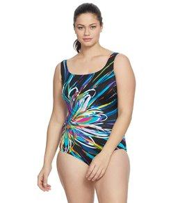 8a4d97a5a53 Longitude Plus Size Floral Mayhem Scoop Neck One Piece Swimsuit