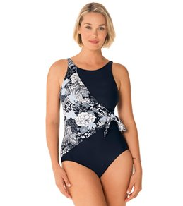 eccb208549 Penbrooke Lacey Affair High Neck Tie Side Draped One Piece Swimsuit