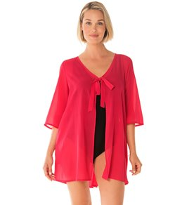 4119bee3a4ce8 Penbrooke Take Cover Poly Georgette Tie Front Cover Up Dress