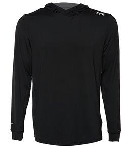 TYR Mens Long Sleeve Solid Hoodie Rashguard,Black