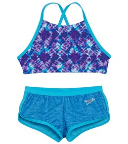 0336b28f892 Speedo Girls  High Neck Camikini Boyshort Two Piece Set (Big ...