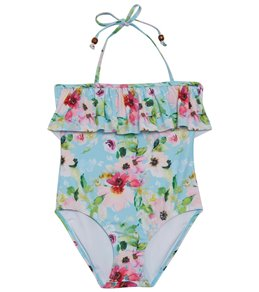 921137a136b Snapper Rock Girls' Watercolor Floral Frill Halter One Piece Swimsuit  (Toddler, Little Kid