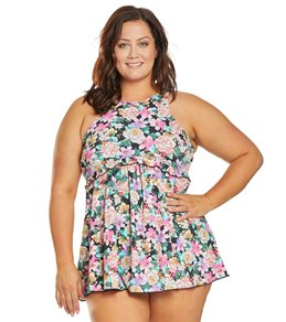 f67d8e3659 Fit4U Plus Size Love Story High Neck Babydoll Swim Dress