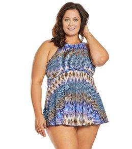 0b1c76d88a Fit4U Plus Size Sand n Sea High Neck Babydoll Swim Dress