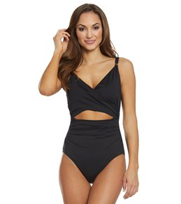 7a740cc764 Lauren Ralph Lauren Beach Club Solids Slimming Fit Wrap One Piece Swimsuit