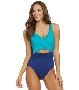 544b0b2ae263e Lauren Ralph Lauren Glamour Color Block Slimming Fit Plunge One Piece  Swimsuit