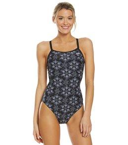 티어 여성 수영복 강습용 원피스 스윔수트 TYR Womens Edessa Diamondfit One Piece Swimsuit,Black/Grey