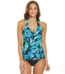 149a2d0cff Ralph Lauren Chaps Watercolor Palm Halter Tankini Top