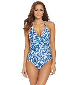dbc60671a8 Ralph Lauren Chaps Slimming Fit Batik Ikat Halter One Piece Swimsuit