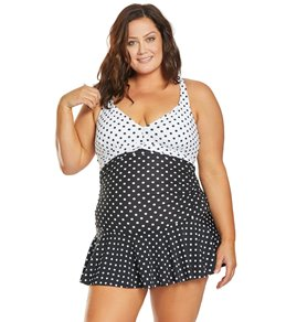 8d0025051a2 Ralph Lauren Chaps Plus Size Slimming Fit Mixed Dot Halter Swim Dress