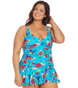 08e3d0573e Ralph Lauren Chaps Plus Size Slimming Fit Spring Floral Halter Swim Dress