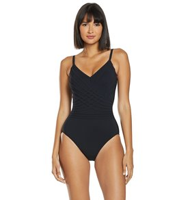 12207567c179b Gottex Divine V Neck Lingerie Strap One Piece Swimsuit