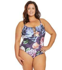 eea478b3bd1 La Blanca Plus Size Bloom Field Reversible Lace Up One Piece Swimsuit
