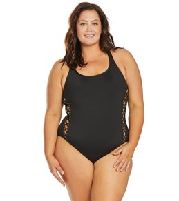 66b96476d8bc9 La Blanca Plus Size Tied and True Over The Shoulder One Piece Swimsuit