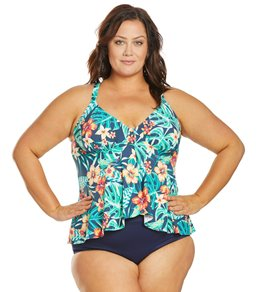 477e65aacc43c Sunsets Curve Plus Size Hibiscus Hideaway Fly Away Tankini Top