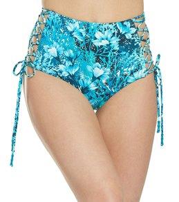 a40cb73aebad0 Carmen Marc Valvo Coral Reef Garden Side Tie High Waisted Bikini Bottom
