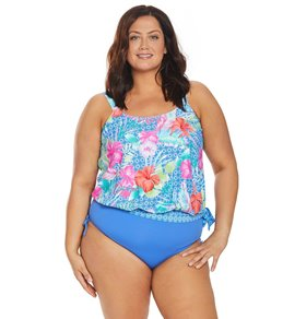 dca07b45a7 Beach House Plus Size Coast to Coast Sarah Side Tie Blouson Tankini Top