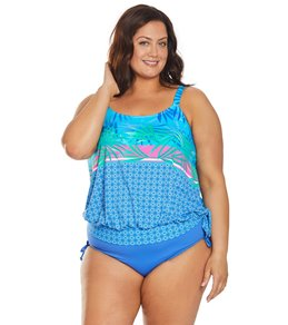 3d2296fb03c4e Beach House Plus Size Palm Reader Sarah Side Tie Blouson Tankini Top