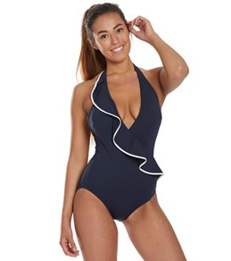 0f04d0e20769 Carmen Marc Valvo Halter Ruffle One Piece Swimsuit
