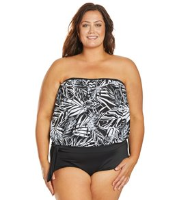 ec144fc616 Ceeb Plus Size Island Girl Bandeau Tankini Top