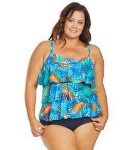 611a2d5544 Ceeb Plus Size Fiji Ruffle Tankini Top