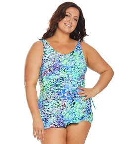 6a563b8217e T.H.E. Plus Size Mastectomy Caribbean Colors Sarong One Piece Swimsuit
