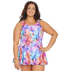 a5334408fb T.H.E. Plus Size Mastectomy Heavenly Hibiscus Swim Dress