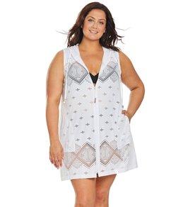 b4a1775d5f Dotti Plus Size Santorini Tile Hooded Cover Up Dress