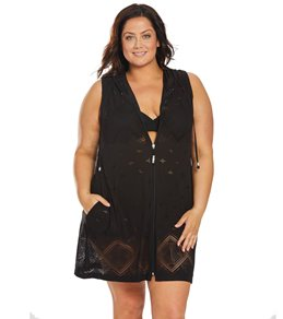 18827a8d40a32 Dotti Plus Size Santorini Tile Hooded Cover Up Dress