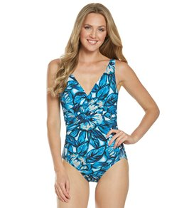 0ad5fe50e01ef Coco Reef Contours Underwire Oasis Pavillion Draped One Piece Swimsuit (C/D  Cup)