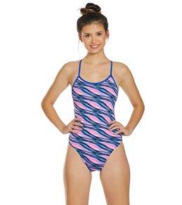 티어 여성 수영복 강습용 원피스 스윔수트 TYR Womens Adrift Crosscutfit Tieback One Piece Swimsuit,Pink/Blue