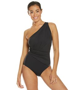 6490bf3e83958 Michael Kors Shirred One Shoulder One Piece Swimsuit