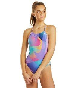 나이키 Nike Womens Spectrum Lace Up Tie Back One Piece Swimsuit