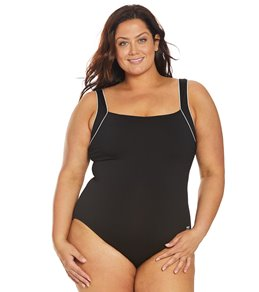 TYR Womens Plus Size Solid Square Neck Controlfit Chlorine Resistant One Piece Swimsuit,Black