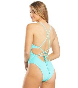 나이키 Nike Womens HydraStrong Lace Up Tie Back One Piece Swimsuit