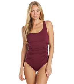 TYR Womens Solid Lattice Controlfit Chlorine Resistant One Piece Swimsuit