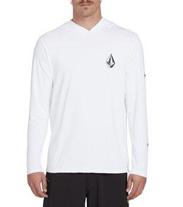 볼컴 Volcom Mens Deadly Stone Long Sleeve Hooded Surf Shirt,Grey