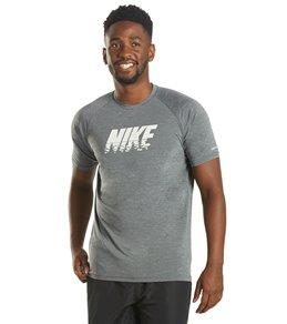 나이키 Nike Mens Heather Sunset Logo Short Sleeve Hydro Rashguard