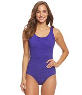 Penbrooke Krinkle Cross Back Chlorine Resistant One Piece Swimsuit